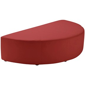 Half Round Ottoman Red Leather