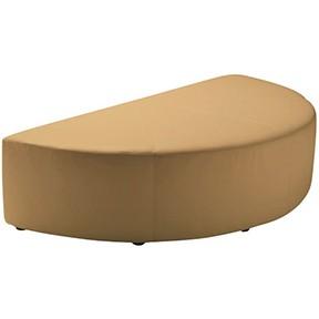 Half Round Ottoman Tan Leather