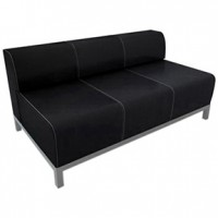 Havana Sofa Black leather 62x34x34 Loveseat 52x34x34