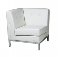 No Limit  Corner White Leather  28x28x30hx