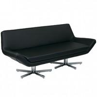 Yield Sofa Black Leather  72x30x31h